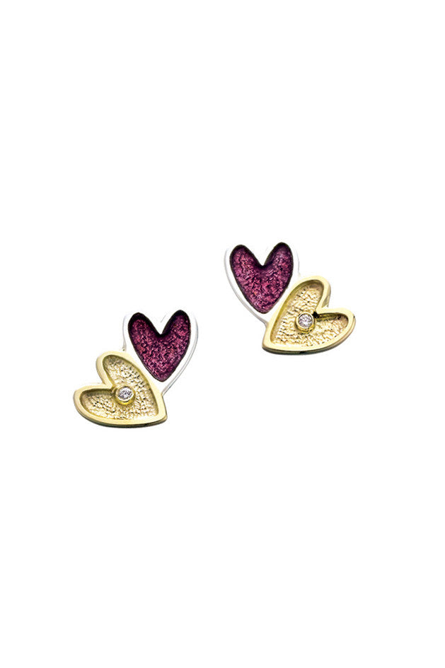 Sheila Fleet Secret Hearts Earrings in Silver, Gold, Diamond & Red Enamel ( GS-EDEX138 )  £222.00