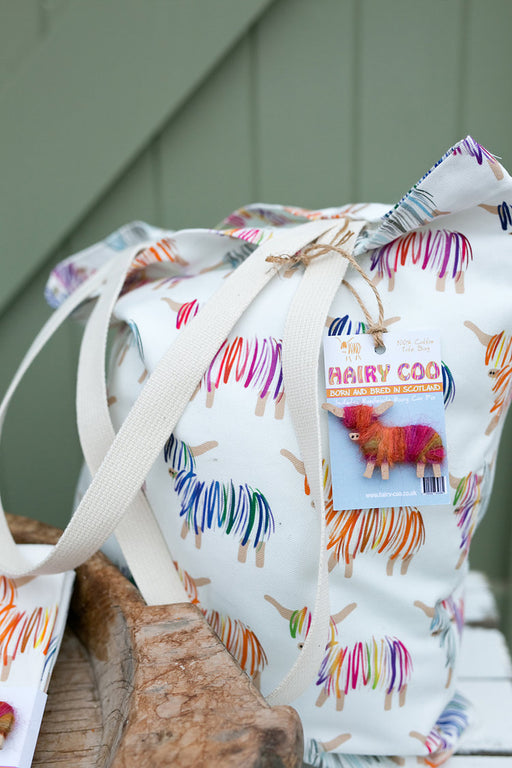 Hairy Coo Highland Cow Heavy Cotton Tote Bag & Brooch £21.99