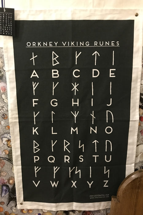 Judith Glue 'Orkney Viking Runic' Tea Towel £9.95