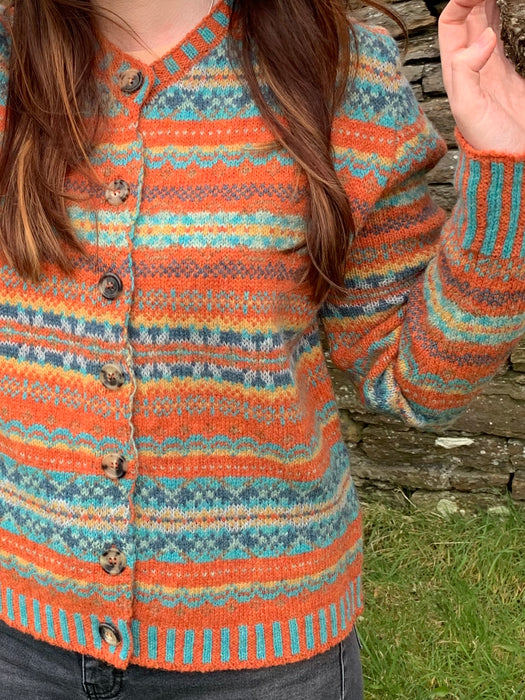 15% OFF Eribe Westray Fair Isle Cardigan in Turmeric WAS £183.00 NOW £155.00