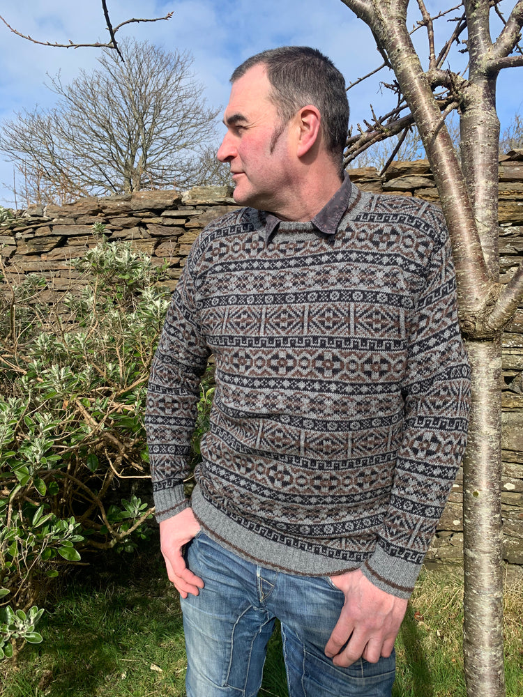15% OFF Traditional Fair Isle Crewneck Sweater in Slate  WAS £139.95 NOW £118.95