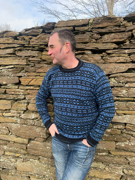 15% OFF Traditional Fair Isle Crewneck Sweater in Charcoal/Denim  WAS £139.95 NOW £118.95