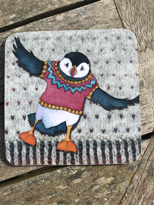 Emma Ball Woolley Flying Puffin Coaster  £2.95
