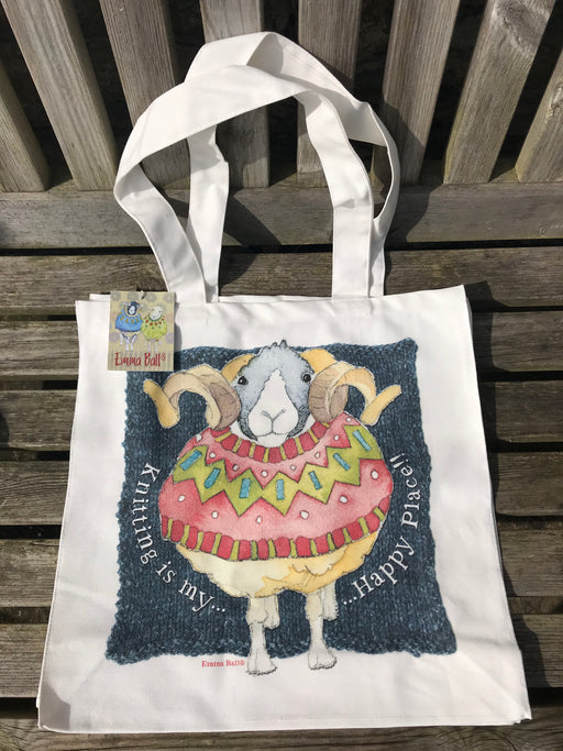 Emma Ball 'Knitting is my happy place' Woolley Ram Canvas Bag £14.95