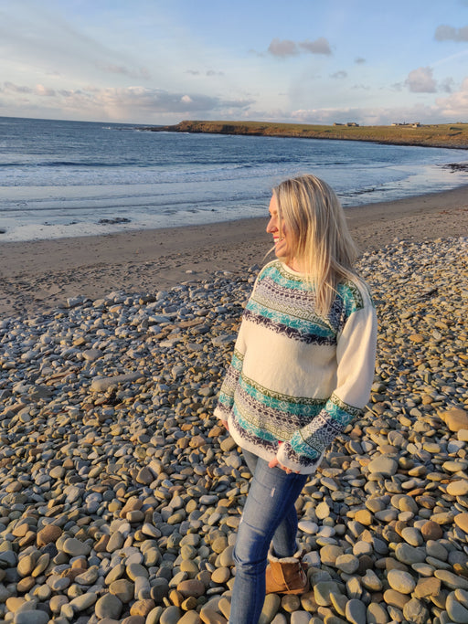 15% OFF Annie Glue North Star in Sea Blues Fair Isle Boat Neck Jumper WAS £119.95 NOW £102.00