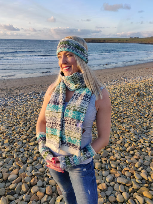 15% OFF Annie Glue Sea Blue Fair Isle Traditional Scarf WAS £59.95 NOW £51.00