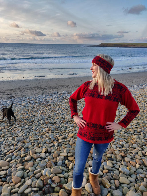 15% OFF Annie Glue North Star in Cherry Red Fair Isle Boat Neck Jumper WAS £119.95 NOW £102.00
