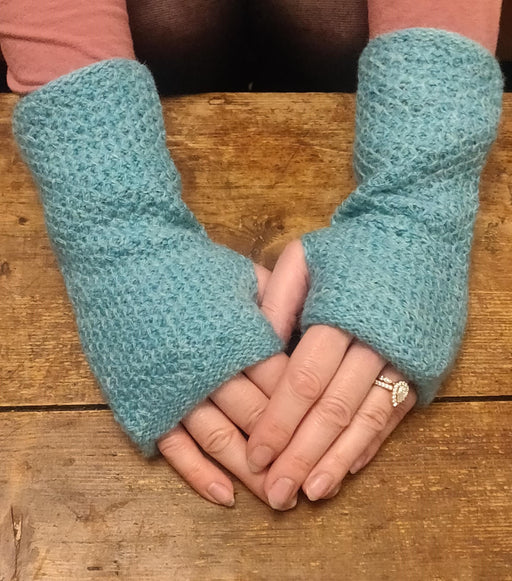 15% OFF  Annie Glue Textured Hand Warmers in Aqua WAS £19.95 NOW £17.00