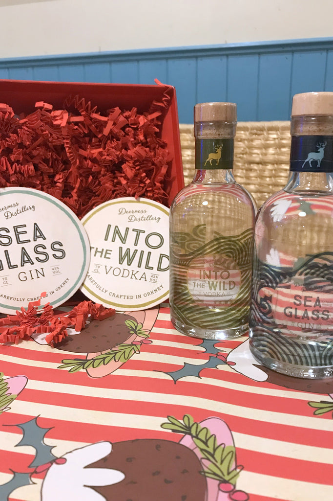 Deerness Distillery 20cl Gin and Vodka with Gin and Vodka Mats Gift Box £39.95