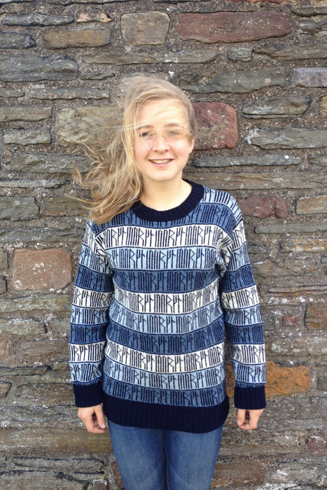 Runic Crewneck Sweater in Sea Blues £139.95