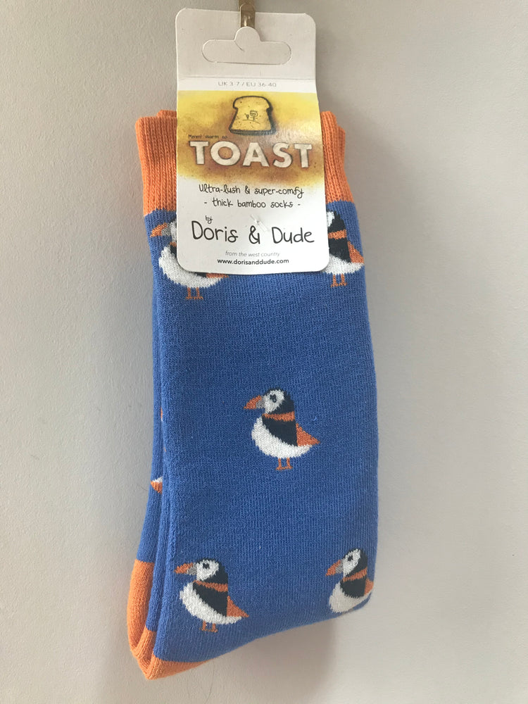 Doris & Dude  Bright Blue Puffin Super Comfy Toast Socks Size UK 3-7 ( EU 36-40 ) £7.95
