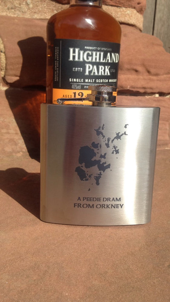 """A peedie dram from Orkney"" Large Hip Flask £24.95"