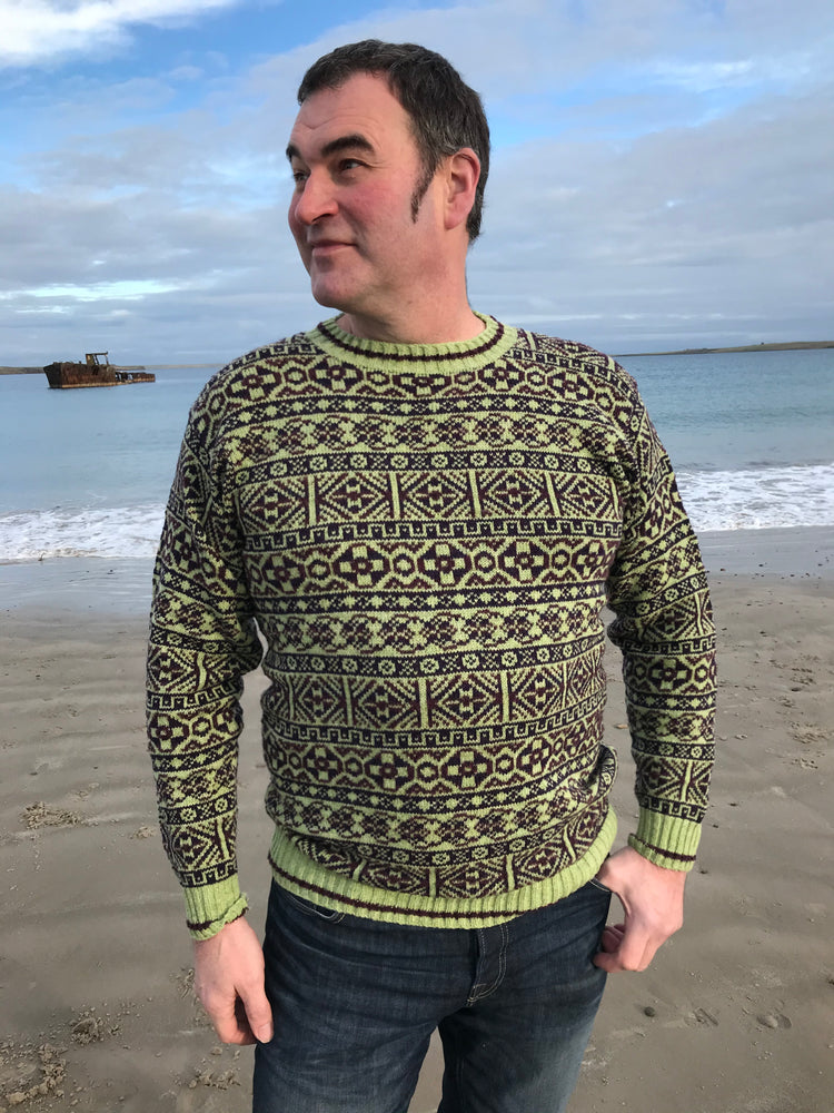 15% OFF Traditional Fair Isle Crewneck Sweater in Lichen WAS £139.95 NOW £118.95