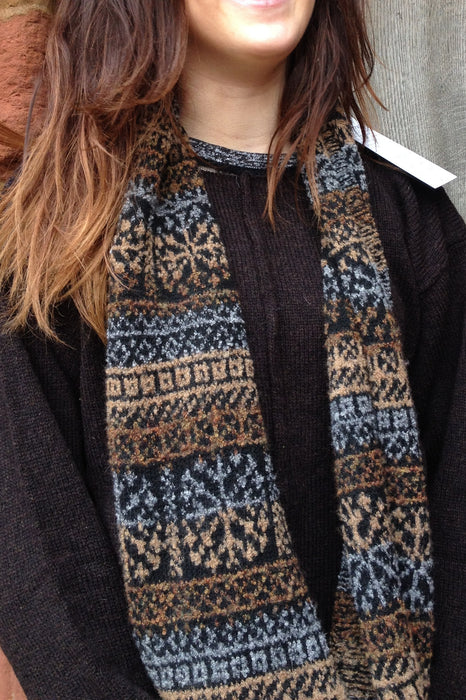 15% OFF Annie Glue two colour Brown Fair Isle Snood WAS £54.95 NOW £46.50