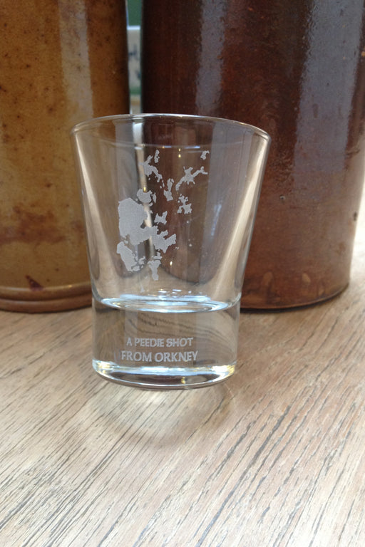 """A peedie shot Orkney Shot Glass"" £5.95"