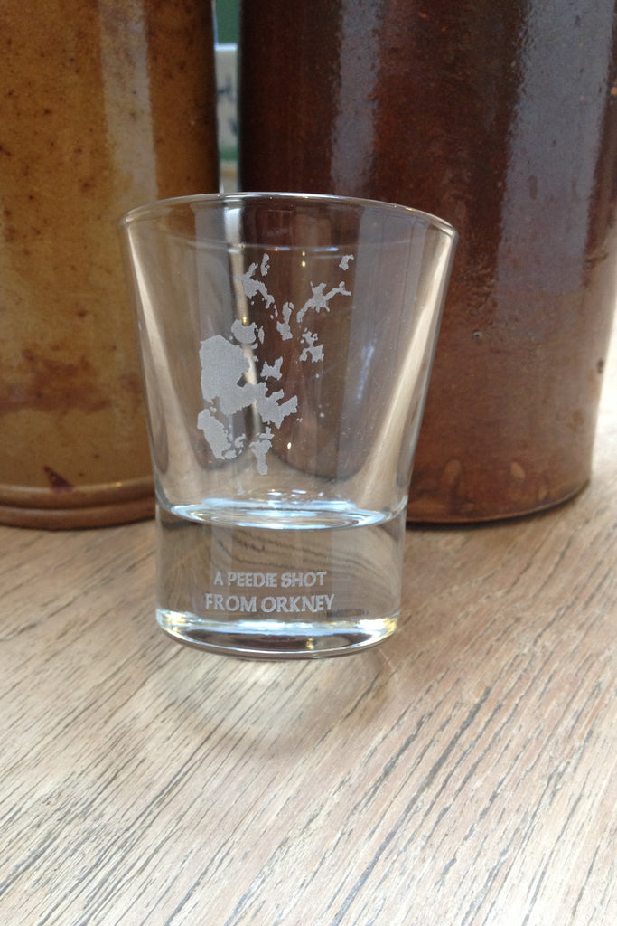 """A peedie shot from Orkney"" Shot Glass (Set of 6 boxed ) £45.00"