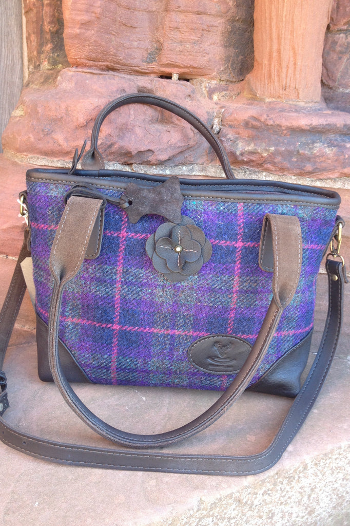 Harris Tweed Lola bag with Leather Straps Made in Scotland £115