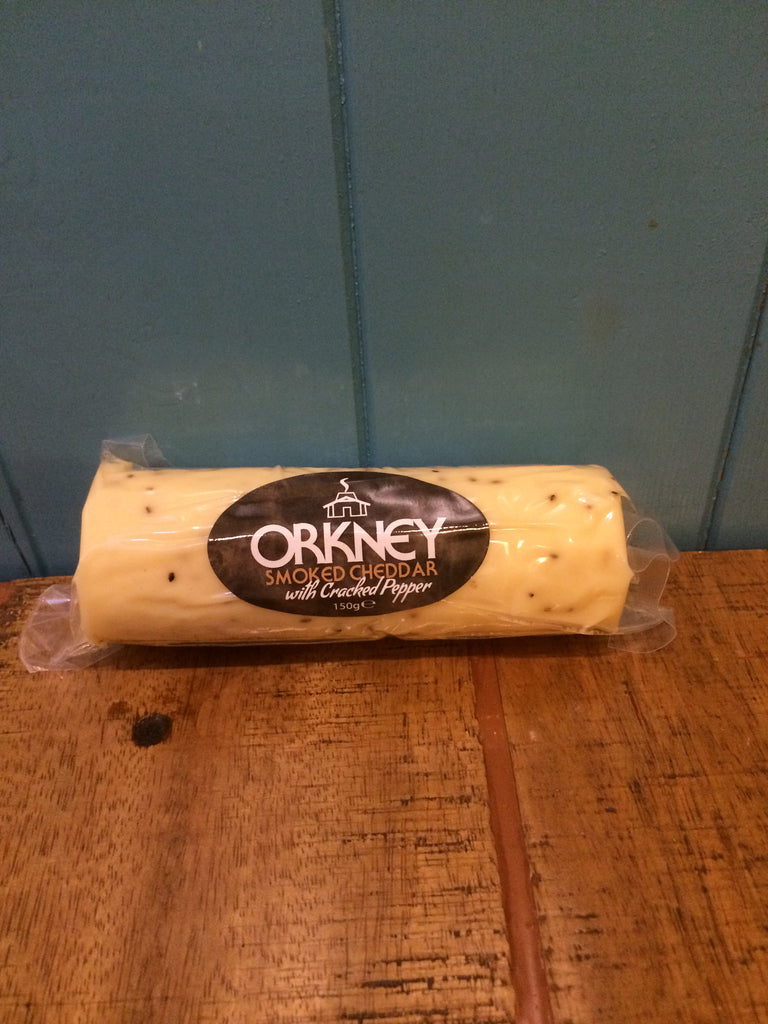 Island Smokery Orkney Smoked Cheddar Cheese with Cracked Pepper