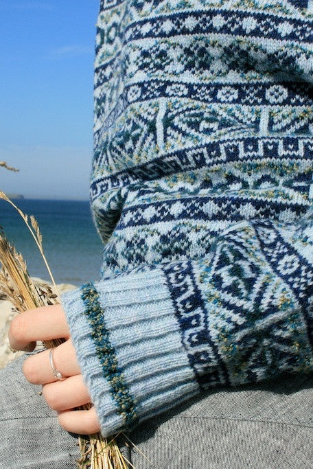 Traditional Fair Isle Crewneck Sweater in Sea Blue  £139.95
