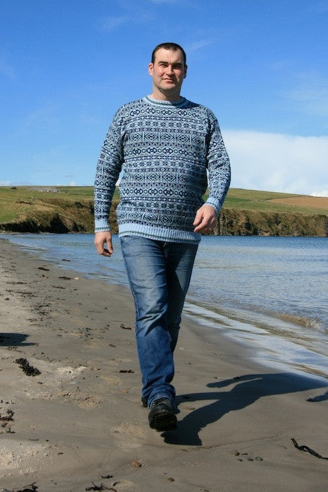 15% OFF Traditional Fair Isle Crewneck Sweater in Sea Blue  WAS £139.95 NOW £118.95