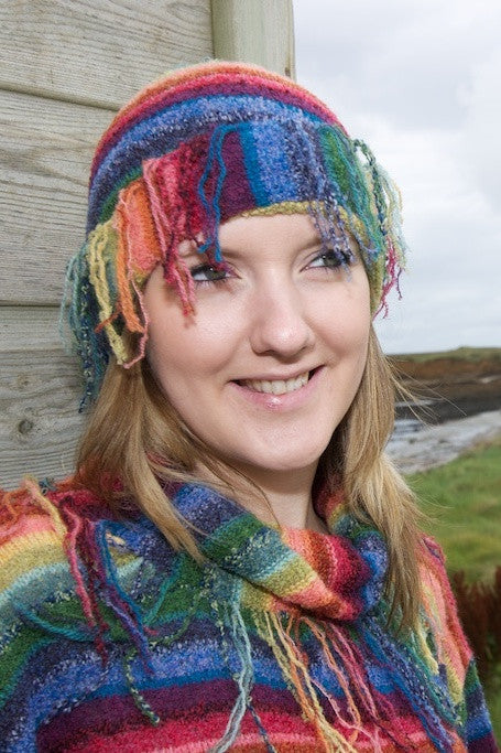 Rainbow Stripey Fringed Pull On Hat £39.95