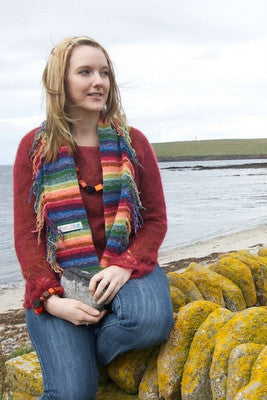 15% OFF Judith Glue Rainbow Stripey Fringed Scarf WAS £55.00 NOW £46.75