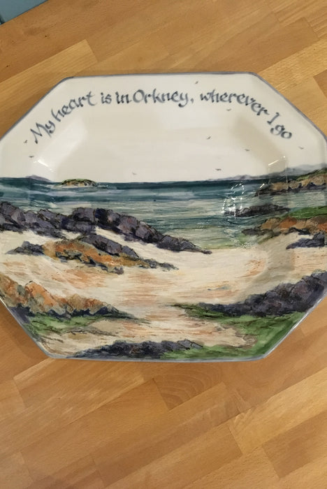 Highland Stoneware 'My heart in in Orkney' Serving Plate
