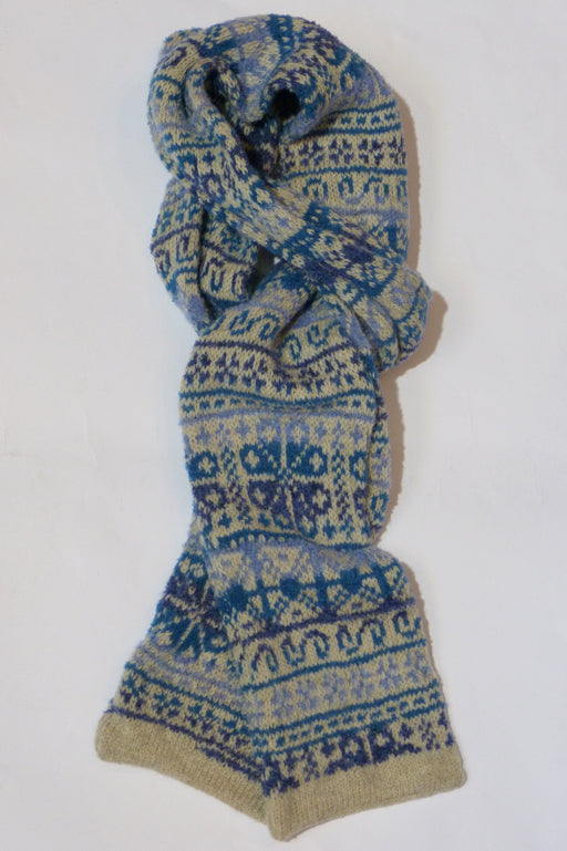 Annie Glue Fair Isle Scarf in shades of Blues £49.95