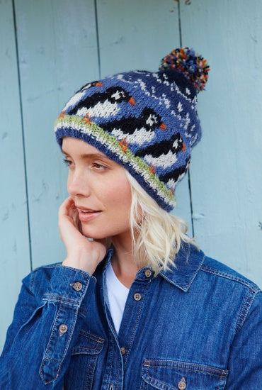 Circus of Puffins Knitted Beanie Bobble Hat £22.95