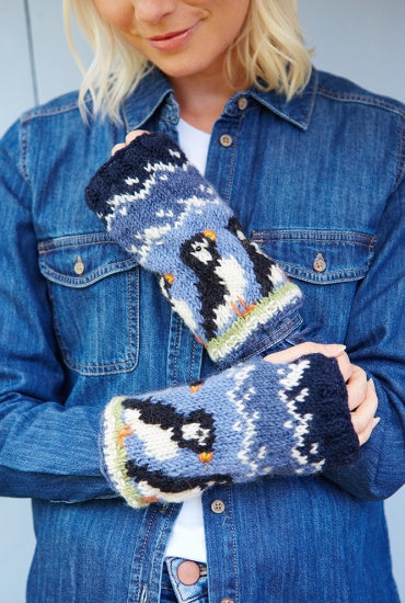 Circus of Puffins Knitted Hand Warmers £19.95