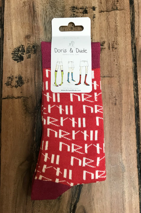 Orkney Runes Socks in Red Size UK 3-7 £5.95
