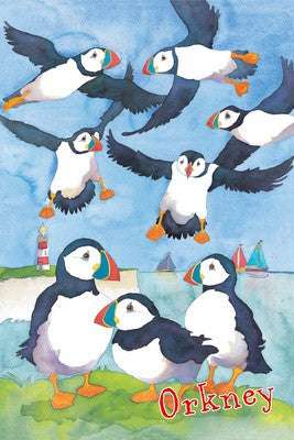 Emma Ball Puffin 'Orkney' Tea Towel