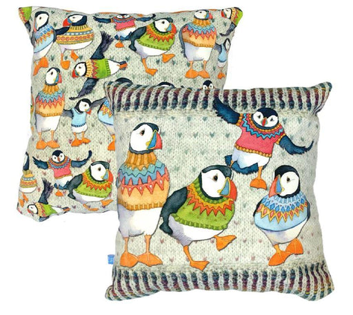 Emma Ball Wooley PuffinVelvet Cushion £39.95