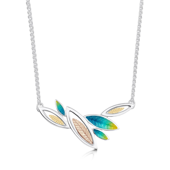 Sheila Fleet Summer Seasons Spring Silver and Gold Leaves Necklet ( SYR-EN266) £234.00