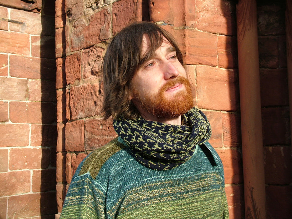 15% OFF Annie Glue Two colour Navy Blue and Light Green Runic Snood WAS £39.95 NOW £34.00