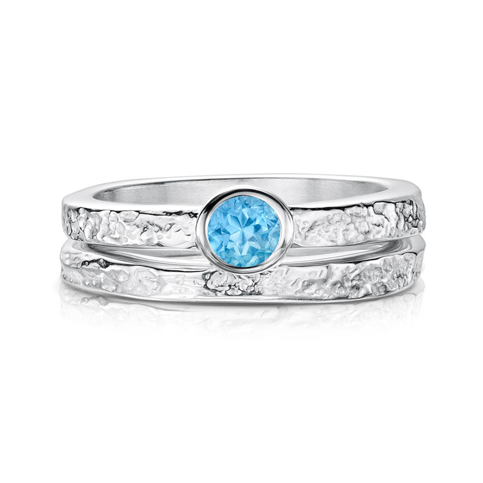 Sheila Fleet Set of Matrix Texture Rings in Sterling Silver and Blue Topaz ( SET-SR0215-R0215 )  £211.00