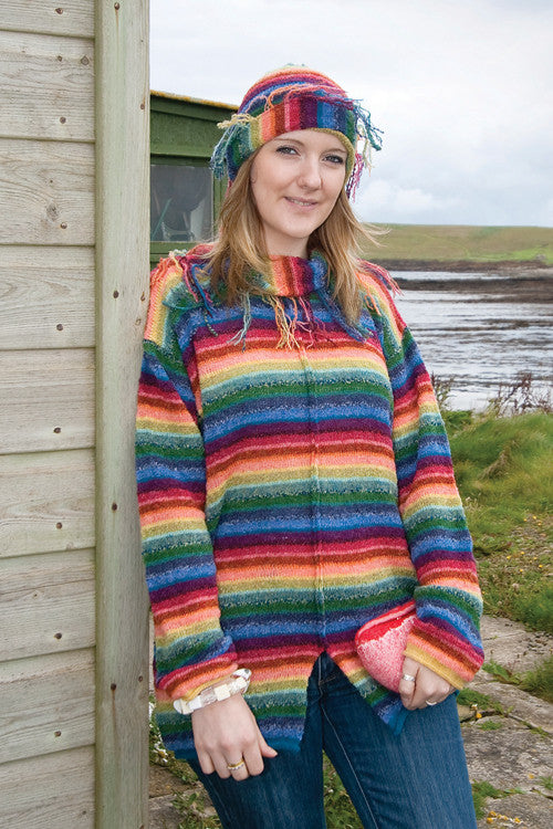 Rainbow Fringed Cowlneck Sweater £149.95