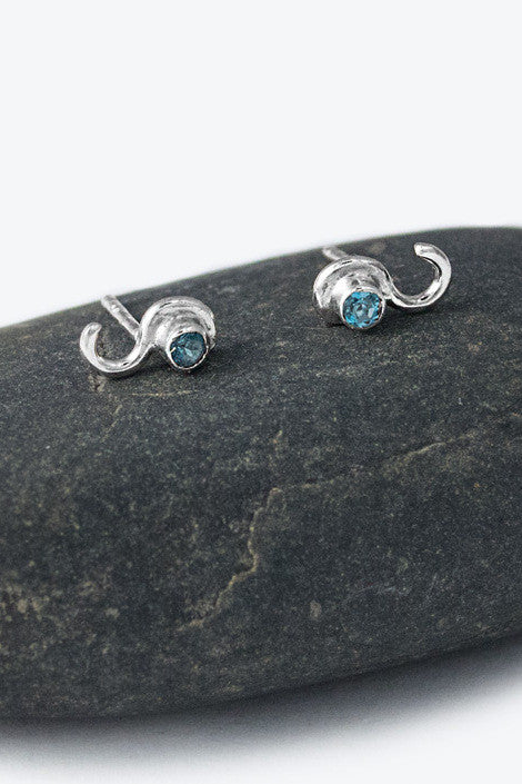20% OFF Zoe Davidson Small Silver Wave Studs with Blue Topaz WAS £38.00 NOW £30.50