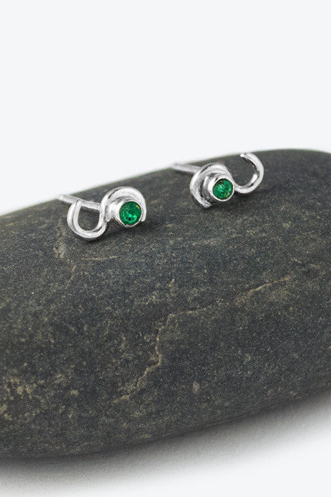 20% OFF Zoe Davidson Small Silver Wave Studs with Emerald WAS £38.00 NOW £30.50