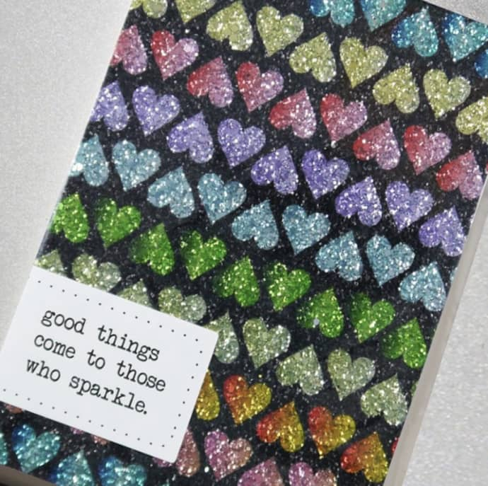 Counting Starts Glitter Notebook, Hearts £13.95