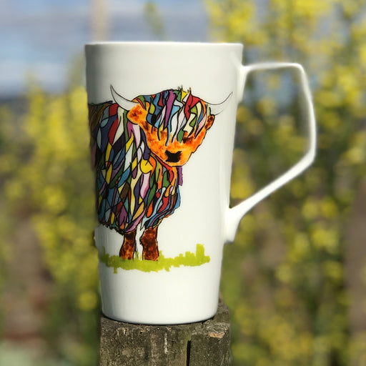 Chloe Gardner Multi Coloured Tall Latte Highland Cow Mug £17.95