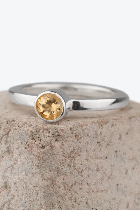 20% OFF Zoe Davidson Barrier Silver Ring with Citrine Gemstone Size P WAS £75.00 NOW £60.00