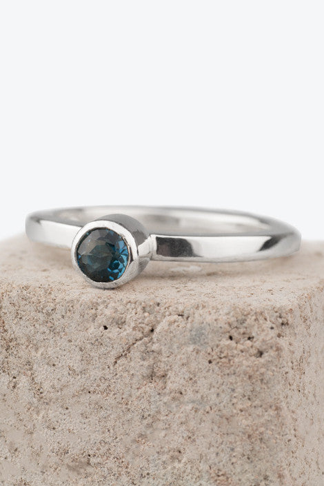 20% OFF Zoe Davidson Barrier Silver Ring with Blue Topaz Gemstone WAS £75.00 NOW £60.00