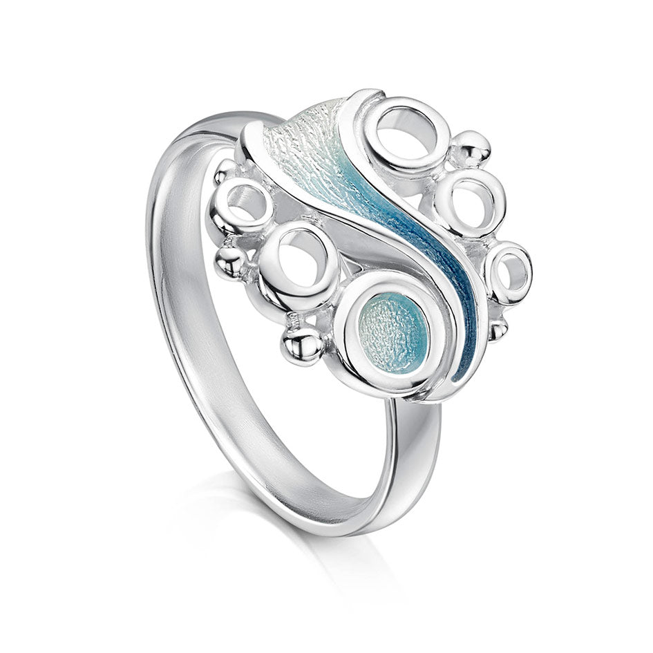 Sheila Fleet Arctic Stream Silver and Enamel Ring ( ER267 ) £121.00