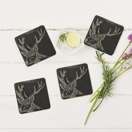 Just Slate Selbrae House Four Slate Stag Coasters £25.00