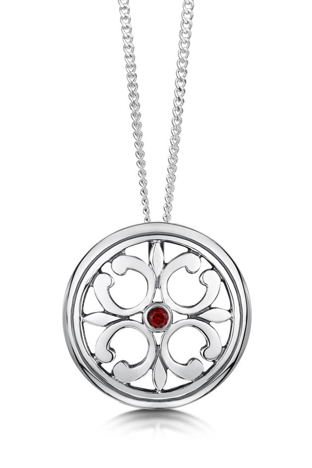 Sheila Fleet Cathedral Garnet Pendant in Sterling Silver