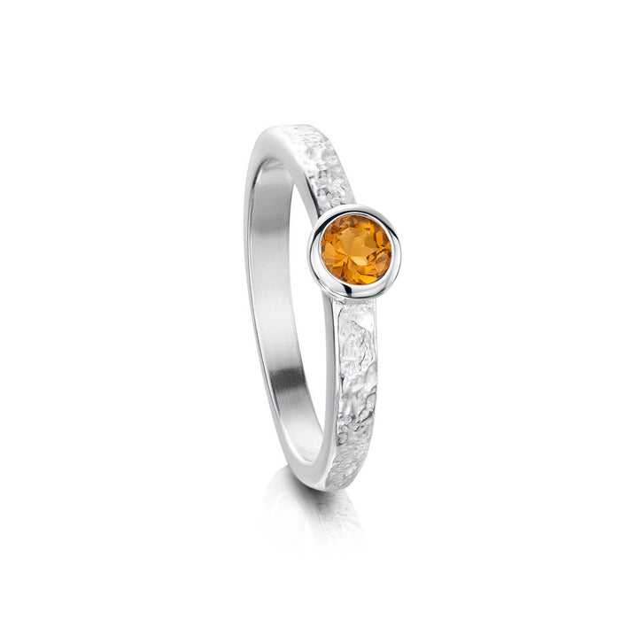Sheila Fleet Matrix Texture Yellow Citrine Stone Ring in Sterling Silver ( SR0215 )£135.00