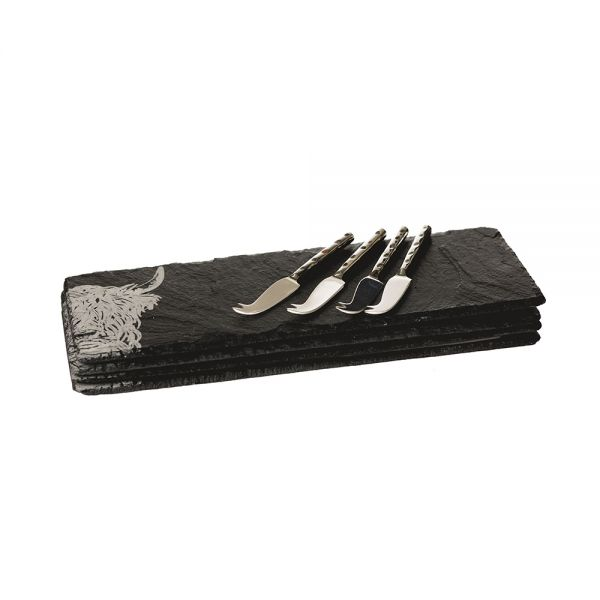 Just Slate Selbrae House 4 Slate Mini Highland Cow Cheese Board & Knife Set £39.95