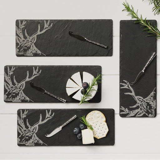 Just Slate Selbrae House 4 Slate Mini Stag Cheese Board & Knife Set £39.95