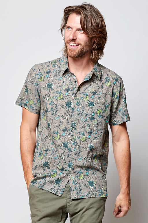 15% OFF NEW Nomads Hepworth Print Short Sleeve Cotton Shirt In Fawn WAS £45.00 NOW £38.95